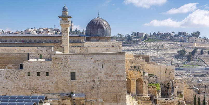 View of Mount of Olives from Old City, Old City, UNESCO World Heritage Site, Jerusalem, Israel, Middle East